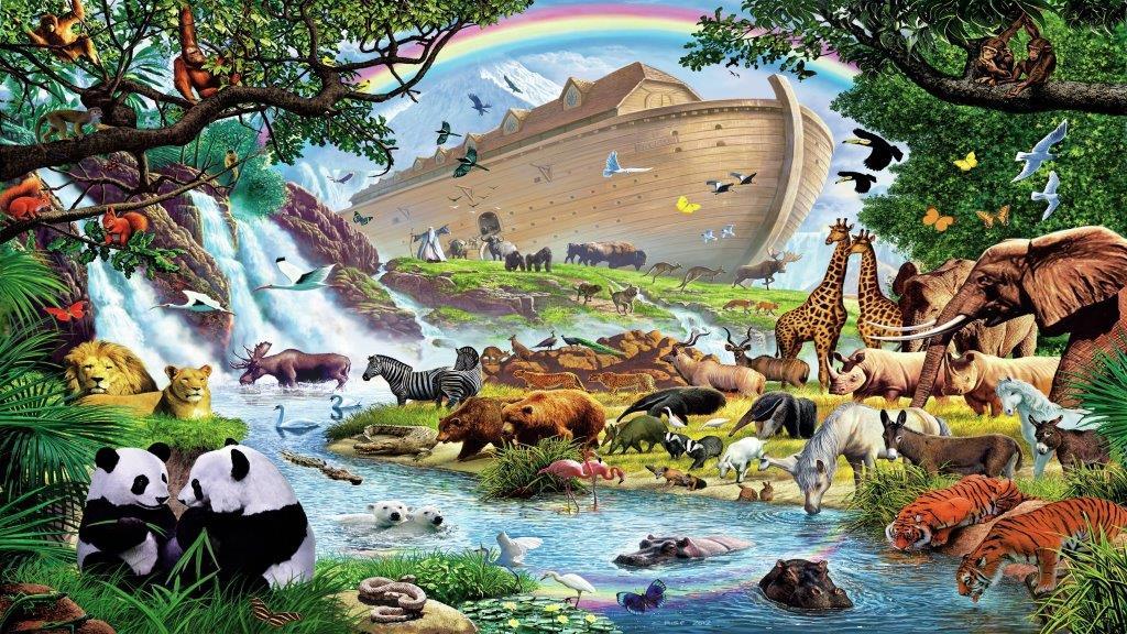 mating pairs of animals leaving Noah's ark