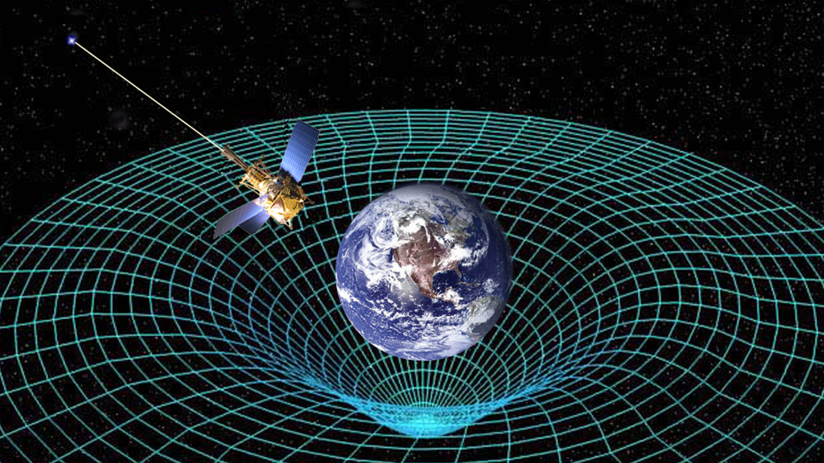 Conceptual image of a satellite orbiting the Earth with a wire mesh gravity well